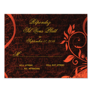Damask Parisienne - Fiery Punk Rock RSVP Card