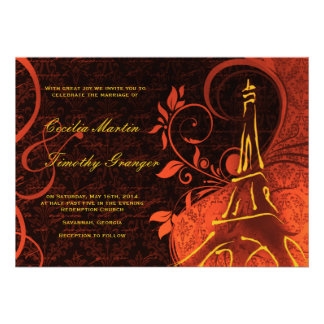 Damask Parisienne - Fiery Punk Rock Wedding Custom Invites