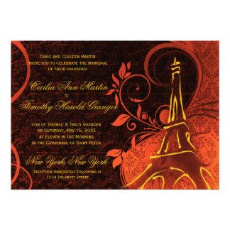 Damask Parisienne - Fiery Punk Rock Wedding Custom Invitations