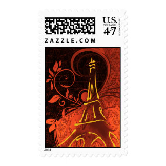 Damask Parisienne - Fiery Punk Rock Wedding Postage