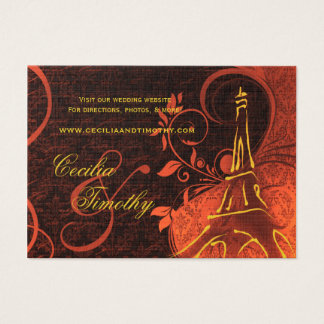 Damask Parisienne: Fiery Punk Rock Wedding Website Business Card