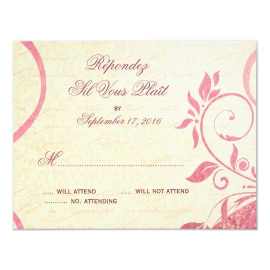 Damask Parisienne - Honeysuckle & Ivory RSVP Card