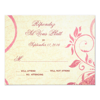 Damask Parisienne - Honeysuckle & Ivory RSVP Card