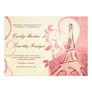 Damask Parisienne - Honeysuckle & Ivory Wedding Personalized Invitation