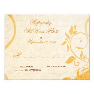 Damask Parisienne - Marmalade & Fall Spice RSVP 4.25x5.5 Paper Invitation Card