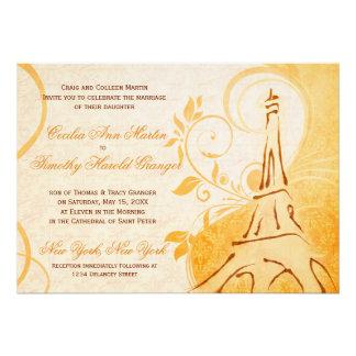 Damask Parisienne - Marmalade & Fall Spice Wedding Personalized Invitation