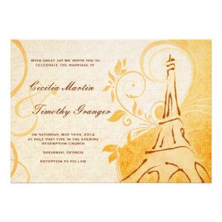 Damask Parisienne - Marmalade & Fall Spice Wedding Custom Announcements