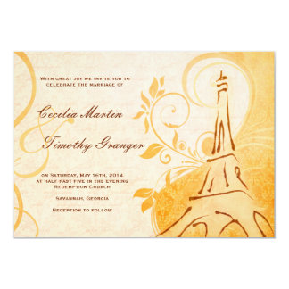 Damask Parisienne - Marmalade & Fall Spice Wedding 5x7 Paper Invitation Card
