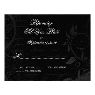 Damask Parisienne - Midnight Black RSVP Custom Invitation