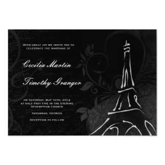 Damask Parisienne - Midnight Black Wedding Card
