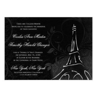 Damask Parisienne - Midnight Black Wedding Custom Announcements