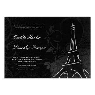 Damask Parisienne - Midnight Black Wedding Personalized Invites