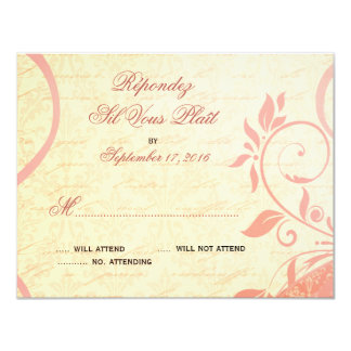 Damask Parisienne - Pink and Cream RSVP 4.25x5.5 Paper Invitation Card