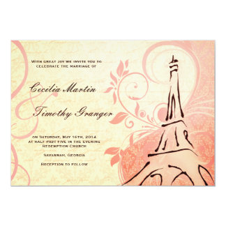 Damask Parisienne - Pink and Cream Wedding 5x7 Paper Invitation Card
