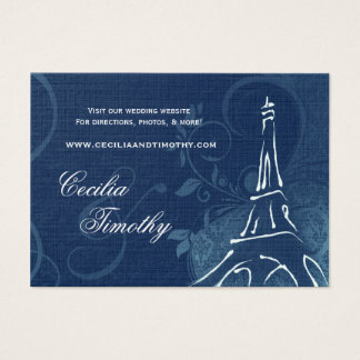Damask Parisienne: Sapphire Blue Wedding Website Business Card