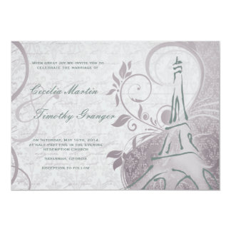 Damask Parisienne - Subtle Teal & Purple Wedding Card