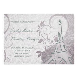 Damask Parisienne - Subtle Teal & Purple Wedding Announcement