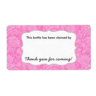 Damask party beer water soda bottle name tags label