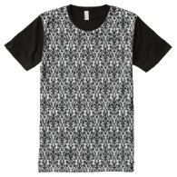 Damask Pattern All-Over Printed Panel T-Shirt All-Over Print T-shirt