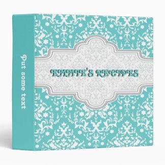 Damask pattern aqua, white & grey frame recipe binder