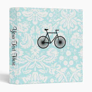 Damask Pattern Bicycle; Teal 3 Ring Binder
