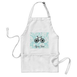 Damask Pattern Bicycle; Teal Adult Apron