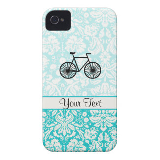 Damask Pattern Bicycle; Teal iPhone 4 Covers