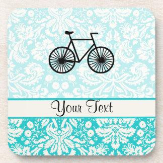 Damask Pattern Bicycle; Teal Coaster