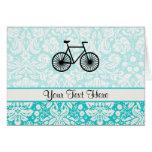 Damask Pattern Bicycle; Teal Greeting Card