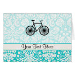 Damask Pattern Bicycle; Teal Greeting Cards