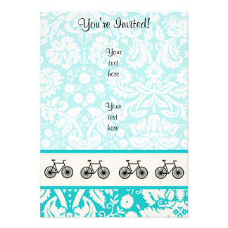 Damask Pattern Bicycle Teal Personalized Invitation