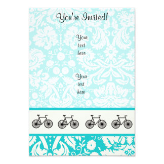 Damask Pattern Bicycle; Teal Personalized Invitation