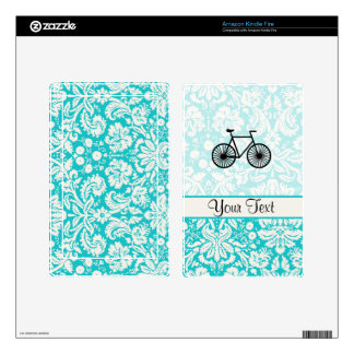 Damask Pattern Bicycle; Teal Kindle Fire Decal