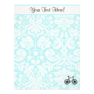 Damask Pattern Bicycle; Teal Customized Letterhead