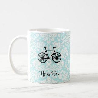 Damask Pattern Bicycle; Teal Coffee Mug
