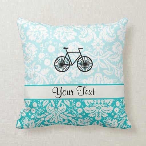 Damask Pattern Bicycle; Teal Throw Pillow