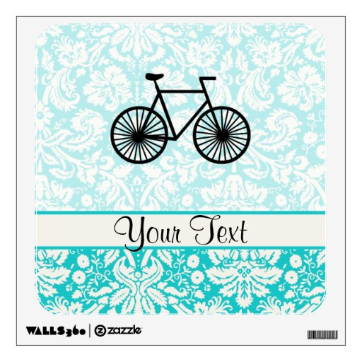 Damask Pattern Bicycle; Teal Wall Sticker