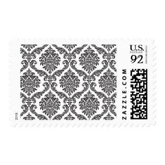 Damask pattern black on white postage