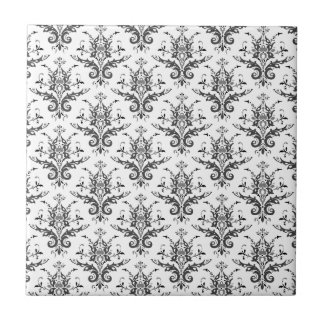 Damask Pattern Black & White, Gray Ceramic Tile