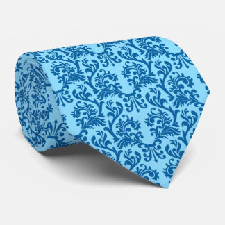 Damask Pattern Blue and Dark Blue Tie