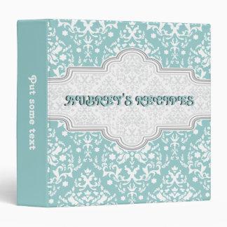 Damask pattern blue, white & grey frame recipe binder