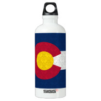 Damask Pattern Colorado Flag Aluminum Water Bottle