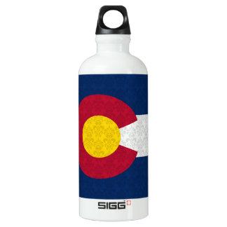Damask Pattern Colorado Flag Aluminum Water Bottle