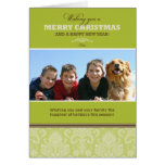 Damask Pattern Custom Family Holiday Card (lime)