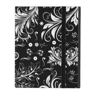 Damask Pattern, Damask Background - Black White iPad Folio Case