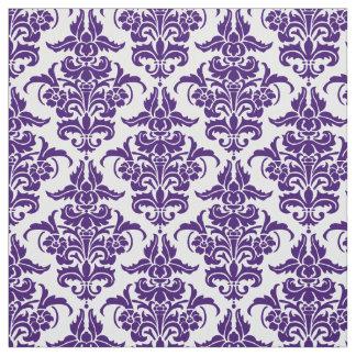 Damask Pattern - Deep Purple on White Fabric