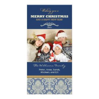 Damask Pattern Family Holiday Photocard (blue) Photo Card