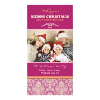 Damask Pattern Family Holiday Photocard (fuchsia) Card