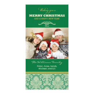 Damask Pattern Family Holiday Photocard (green) Card