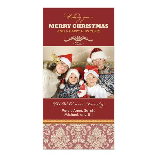 Damask Pattern Family Holiday Photocard (red) Card
